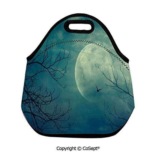 Portable lunch bag,Halloween with Full Moon in Sky and Dead Tree Branches Evil Haunted Forest,for Women Men Kids Boys Girls(11.81x6.29x11.02 inch) Blue]()