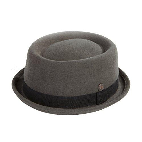 Dasmarca Mens Wool Felt Skimpy Brim Pork Pie Hat - Jack Grey XL