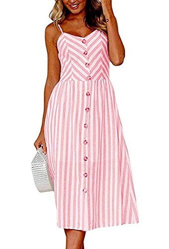 Pink Stripe One Shoulder Dress - Oops Style Women Pink Stripes Summer Midi Dress with Pockets Plus Size 3X