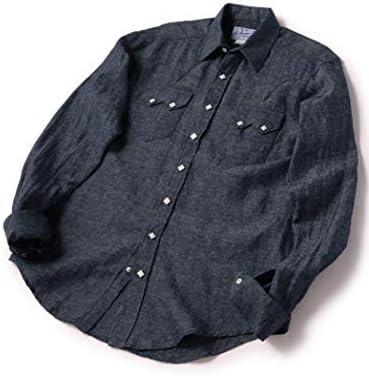 [ROCKMOUNT] ロックマウント リネン インディゴ ウエスタンシャツ メンズ 111114117