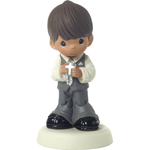 Precious Moments 172082 May His Light Shine in Your Heart Today & Always Brown Hair Boy with Medium Skin Tone First Communion Bisque Porcelain Figurine, One Size, Multi