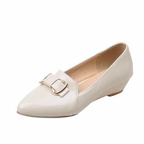 Carolbar Mujer's Pointed Toe Sweet Arcos Elegance Fashion Candy Colors Low Heel Dress Holgazanes Zapatos Beige