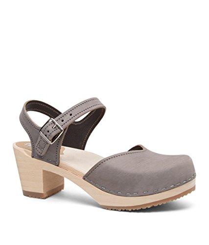 Sandgrens Swedish Wooden High Heel Clog Sandals for Women | Victoria Gray, EU 41