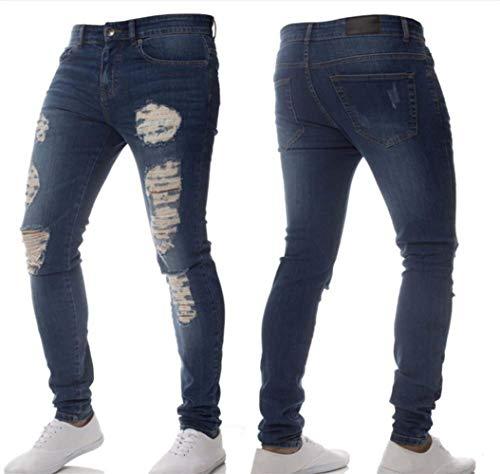 Fashion Stretch Dunkelblau Design Pantaloni Comode Jeggings Di Abiti Strappati Jeans Denim Skinny Da Uomo Taglie Super zanqZRAa