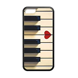 iPhone 5C Case,Vintage Retro Piano Keys And Red Heart High Definition Fantastic Design Cover With Hign Quality Rubber Plastic Protection Case