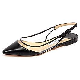 JIMMY CHOO F9454 Sandalo Donna Leather/plexi Erin Flat Black Shoe Woman