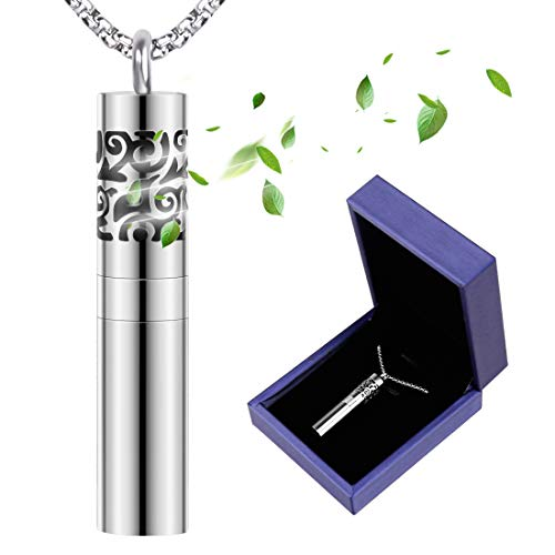 Metal Womens Fashion Necklace - Birthday Gifts for Women, Romanda Diffuser Necklace with Dispenser and Container Stainless Steel Aromatherapy Essential Oil Diffuser Pendant Locket Necklace with 8 Pads Jewelry for Women Men Kids