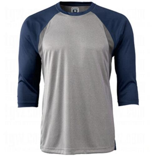 CHAMPRO Extra Innings 3/4 Sleeve Baseball Shirt; S; Grey, Navy Sleeve; Adult Extra Innings 3/4 Sleeve Baseball T ()