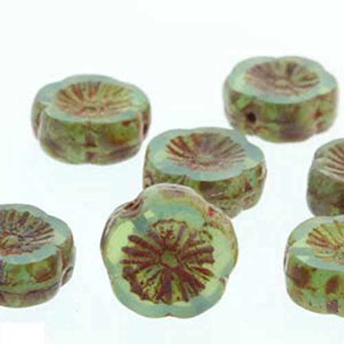 Czech Glass Beads Carved Hawaiian Flower Beads 12mm Opal Green