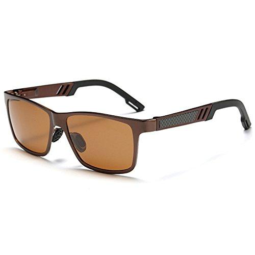 des de pour polarisées soleil en femmes Lunettes aluminium unisexes Sun vintage brown de hommes vdBwfgq