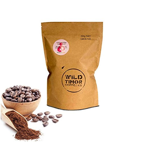 Prize WINING Australian Coffee - Wild Timor Coffee. 200g (7oz) Wild Organic Whole Bean Coffee, 'Ground' for French Press / Drag Brewing. Direct Trade from East Timor.