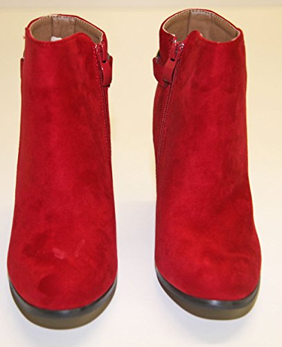 absatz Faux cedric Seite Rot Stiefelette pierre Quadratisch frau Reißverschluss Leder q48gxwtS5