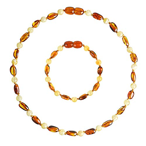Baltic Amber Teething Necklace + Amber Teething Anklet Set for Baby (Unisex – Cognac/Milk - 12.5 Inches / 5.5 Inches) - 100% Authentic Amber Necklace & Amber Teething Bracelet for ()