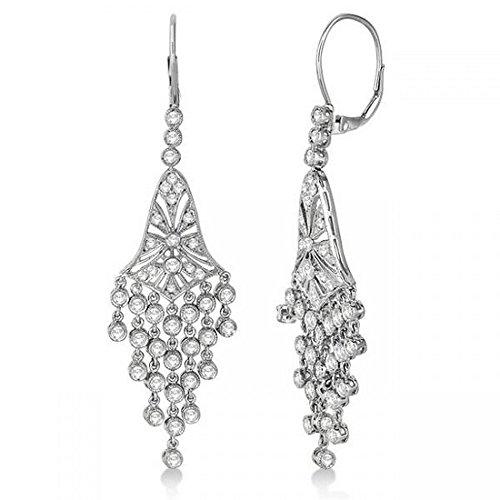 (Bezel-Set Dangling Chandelier Diamond Earrings 14K White Gold (2.27ct))