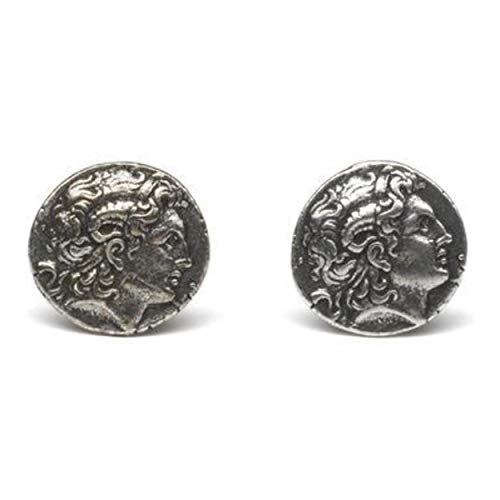 Antique Silver Finish Pewter Kingdom Of Macedon C. 336 323 Bc Tetradrachm Alexander The Great Greek Coin Cufflinks ()