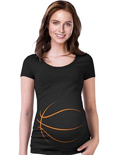 Tstars TeeStars - Basketball Belly Funny Pregnancy Announcement Gift Maternity Shirt Large Black (Shirt Womens Jersey Basketball)