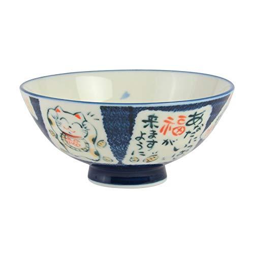 ミノルツキ ミノヤキ 日本飯碗 特大サイズ 猫ブルー 705246   B07J26CBFY