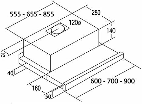CATA Modelo TF 2003 GWH extracción | campana extractora cocina 390m3/h-150m3/h | Acabado en cristal blanco | [Clase de eficiencia energética C], 57 Decibelios, 2 Velocidades, 60 x 44 x 18 cm: Amazon.es: Grandes electrodomésticos