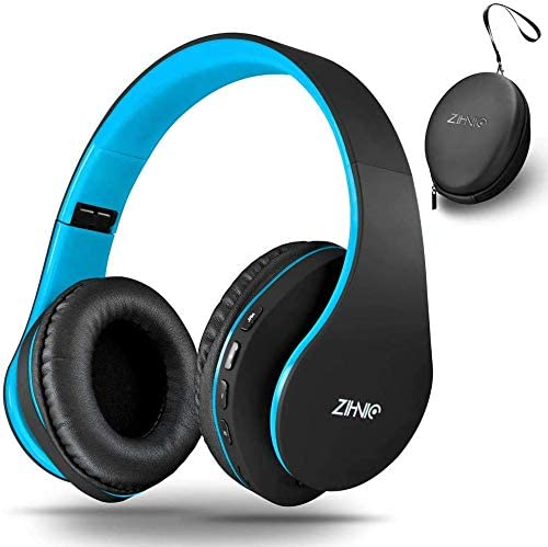 Wireless Over-Ear Headset with Deep Bass, Bluetooth and Wired Stereo Headphones Buit in Mic for Cell Phone, TV, PC,Soft Earmuffs &Light Weight for Prolonged Wearing via Zihnic (Black/Blue)