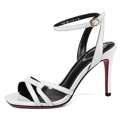 Chaussures D'été Mode Simple Talons Hauts Sandales Stiletto Bride à La Cheville Boucle Dames Chaussures,White-37