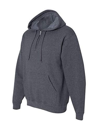 Jerzees 994 Adult NuBlend 1 By 4-Zip Hooded Sweatshirt - Black Heather, ()