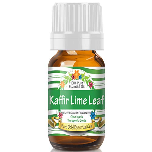 Kaffir Lime Leaf Essential Oil (100% Pure, Natural, UNDILUTED) 10ml - Best Therapeutic Grade - Perfect for Your Aromatherapy Diffuser, Relaxation, More!