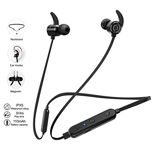 Wireless Earbuds, Best Bluetooth Sport Headphones Mic Bass Sound HD Stereo Earphones 9Hrs Play Music Compatible for iPhone X, CVC6.0 Noise Cancelling IPX5 Sweatproof In Ear Headsets for Gym Running