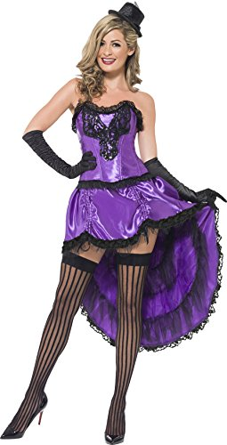 Smiffys Women's Burlesque Glamour Costume, Corset and Adjustable Skirt, 20's Razzle Dazzle, Serious Fun, Size 6-8, 43884