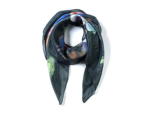 (Invisible World Women's 100% Silk Hand Painted Square Scarf)