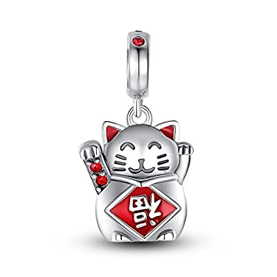 "Glamulet Crystal Lucky Cat ""FU"" Pendant 925 Sterling Silver Beads Charm Fits for Bracelet&Necklace from Glamulet"