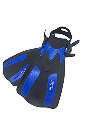 Adult Travel Short Fins for Snorkeling Scuba and Free Diving -- Adjustable Lightweight and Flexible -- Open Heel Design -- For Men and Women