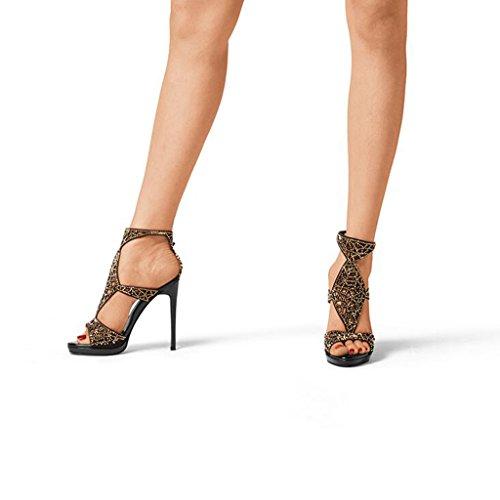 Black Fashion High Heels Heels Thin Sandals Heeled Rhinestone Toe CJC Sexy Open Suede High PwwOB6qp
