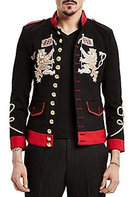 PIZOFF Men's Luxury Embroidery Design Slim Fit Stylish Suit Blazer Jacket