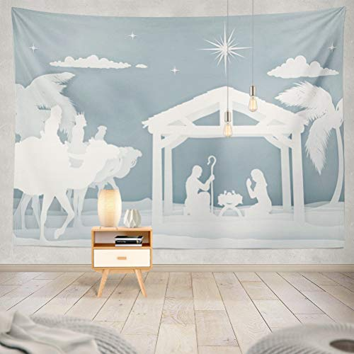 (threetothree 80x60 Inches Tapestry Wall Hanging Interior Decorative Christmas Christian Nativity Scene Baby Jesus with Mary and Silhouette Three Wise for Bedroom Living Room Tablecloth Dorm)