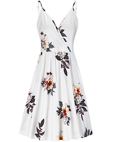 VOTEPRETTY Women's V-Neck Floral Spaghetti Strap Summer Casual Swing Dress with Pockets(Floral03,L)