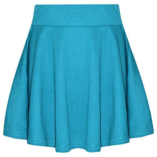 New Girls Skater Skirts School Fashion Summer Plain Skirt 5 6 7 8 9 10 11 12 13Y Sea Green ()