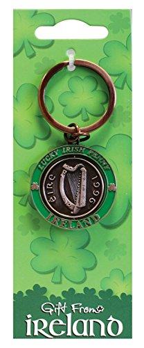 Lucky Irish Penny Spinner Keychain Irish Harp