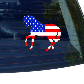 Horse #2 USA FLAG - Car, Truck, Notebook, Bumper, Window Vinyl Sticker (X-country Bumper Rodeo)