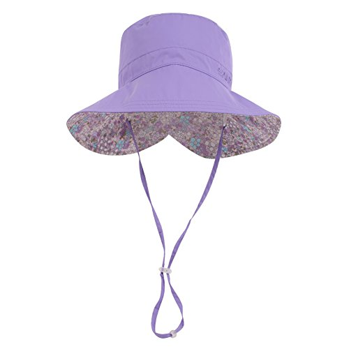 Summer Cord - Wide Brim Bucket Sun Hat UV50+ Protection - Summer Boonie Fishing Beach Hats with Chin Cord and Flower Pattern Design - Packable Outdoor Floppy Cap - Women Men (Youth(22.83''- 23.62''), Purple)