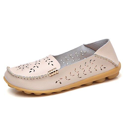 Lingtom Kvinna Tillfälliga Läder Loafers Platt Körning Slip-on Skor Beige