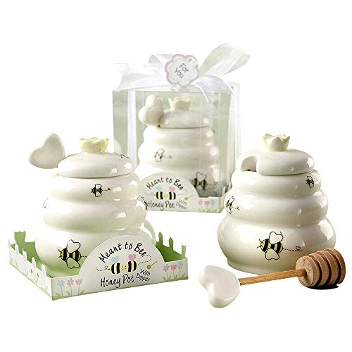 Kate Aspen Ceramic Honey Pot with Wooden Dipper, Meant to Bee, Perfect Wedding Favor, Bridal Shower Favor, Baby Shower Favor & Home Gift (Set of 6) ()