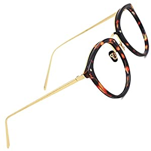 TIJN Blue Light Block Glasses|Round Optical Eyewear Non-prescription Eyeglasses Frame for Women