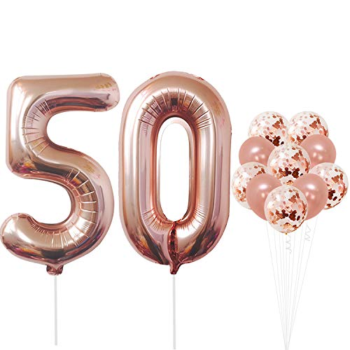 Rose Gold 50 Number Balloons - Large, 5 and 0 Mylar Rose Gold Balloons, 40 Inch | Extra Pack of 10 Latex Baloons, 12 Inch | Great 50th Birthday Party Decorations| 50 Year Old Rose Gold Party Supplies