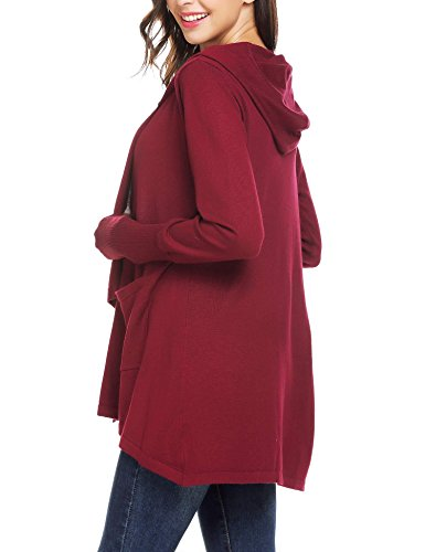 Mofavor Womens Open Front Casual Flowy Long Kimono Knit Cardigan Sweater With Pockets Wine Red S by Mofavor (Image #1)