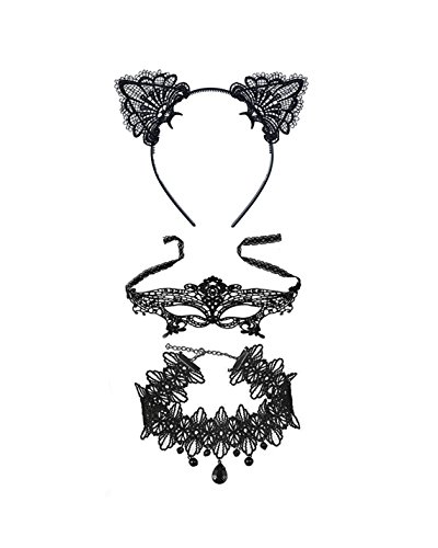 Zealmer Shoopic Sexy Cat Ear Headband Lace Masquerade Mask Choker Set Cosplay Costume Hair Accessories for (Cat Woman Costumes Sexy)