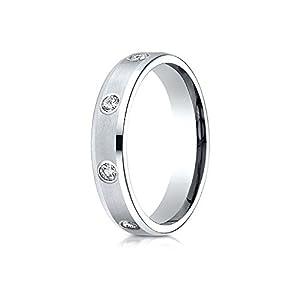Platinum Gold 4mm Comfort-Fit High Polish Edge Satin Center Burnish Set 8-Stone Diamond Eternity Ring (.32ct) - Size 4.5