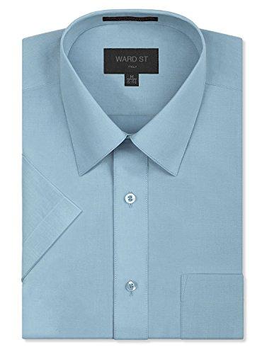 Ward St Men's Regular Fit Short Sleeve Dress Shirts, 4XL, 20-20.5N, Light Blue