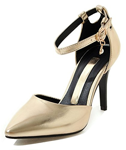 Aisun Toe DOrsay Ankle Sexy Womens Pumps Dressy Heels With Shoes Stiletto Gold Strap Buckled Pointed High rCqwrxfR