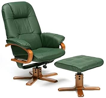 Superbe Restwell Milan Swivel Recliner Chair Green Leather With Footstool