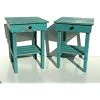 Night Stand Set With Drawer/Modern Farmhouse End Tables/Rustic Table Set /Side Table/Bedside Table Set/Custom/Distressed Table/Turquoise Finish